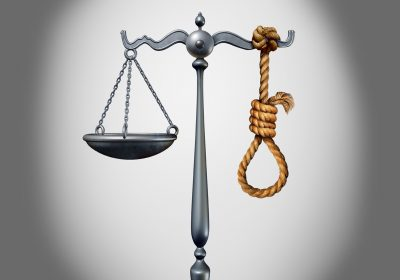 Capital punishment and death penalty as a criminal killed by the government for the crime of murder with 3D illustration elements.